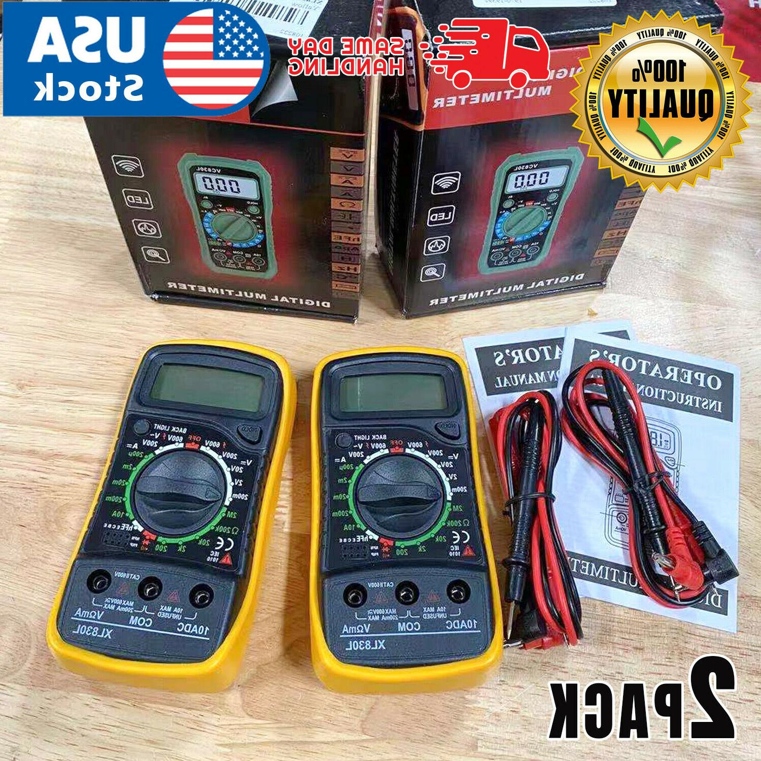2pack digital multimeter xl 830l lcd voltmeter
